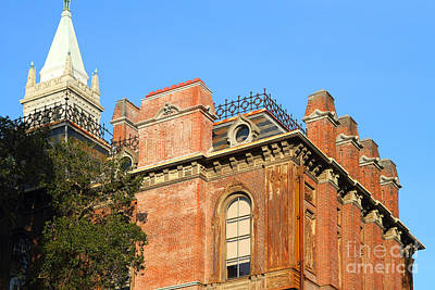 Uc Berkeley . South Hall . Oldest Building At Uc Berkeley . Built 1873 . The Campanile In The Back Print by Wingsdomain Art and Photography