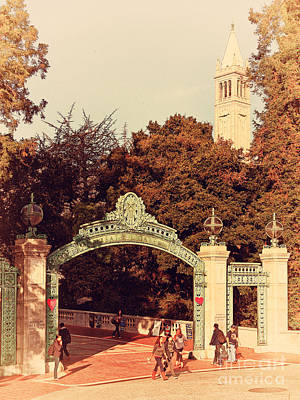Uc Berkeley . Sproul Plaza . Sather Gate And Sather Tower Campanile . 7d10027 Print by Wingsdomain Art and Photography
