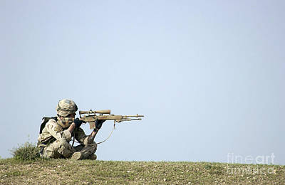 Telescopic Image Photograph - Us Army Specialist Scans The Horizon by Stocktrek Images