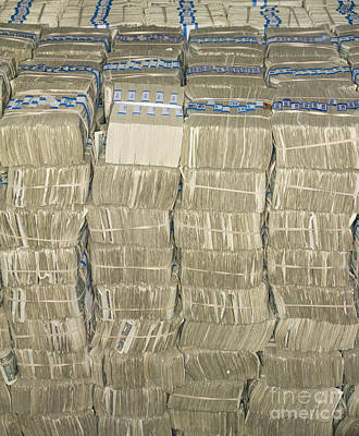 Us Cash Bundles Print by Adam Crowley