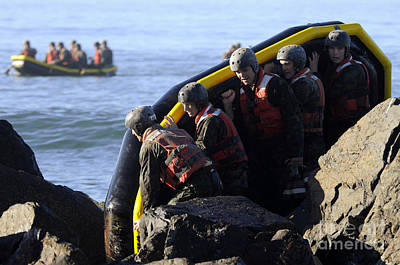 Rigid Hull Inflatable Boats Photograph - U.s. Navy Seal Candidates Participate by Stocktrek Images