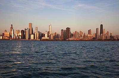 Usa, Illinois, Chicago, City Skyline Over Lake Michigan Print by Henryk Sadura