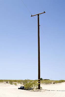 Telephone Poles Photograph - Utility Pole In Desert, Twenty Nine Palms, Mojave Desert, California by Paul Edmondson