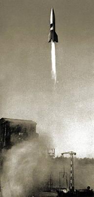 V2 Rocket Photograph - V-2 Prototype Rocket Launch, 1942 by Detlev Van Ravenswaay
