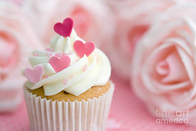 Fairy Hearts Pink Flower Photograph - Valentine Cupcake by Ruth Black