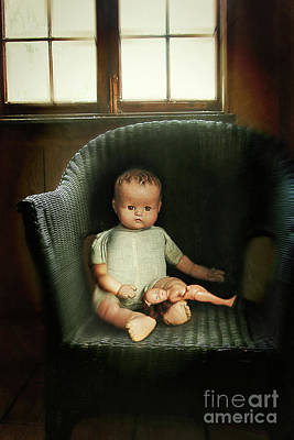 Doll Photograph - Vintage Dolls On Chair In Dark Room by Sandra Cunningham