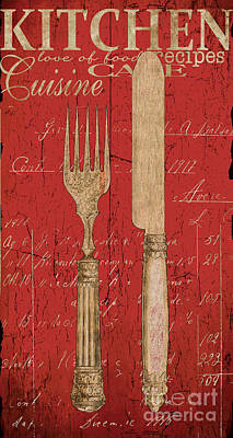 Cafes Painting - Vintage Kitchen Utensils In Red by Grace Pullen