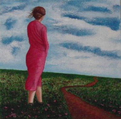 Portrait Painting - Waiting By The Path by Neal Luea