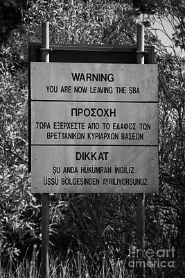 warning sign warning of the border of the turkish military controlled area of the SBA Sovereign Base Print by Joe Fox