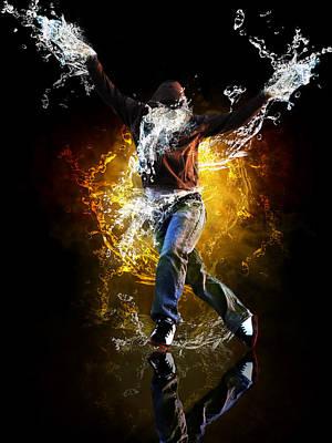 Sneakers Mixed Media - Water Dance by Danielle Kasony
