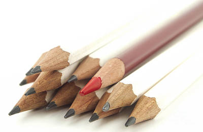 White And Red Pencils Print by Blink Images