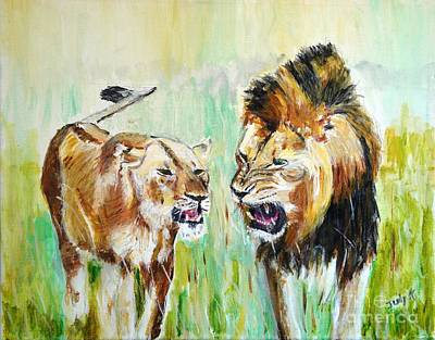 Lion Painting - wild Kingdom by Judy Kay