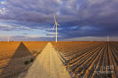 Wind Turbine Shadow Print by Jeremy Woodhouse