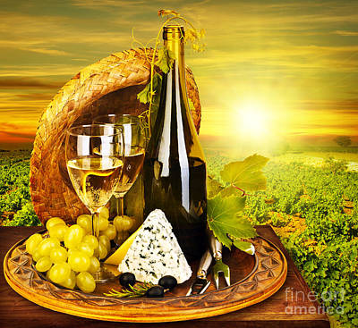 Outdoor Still Life Photograph - Wine And Cheese Romantic Dinner Outdoor by Anna Omelchenko