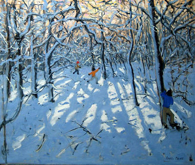 Winter Memories Painting - Winter Woodland Near Newhaven Derbyshire by Andrew Macara