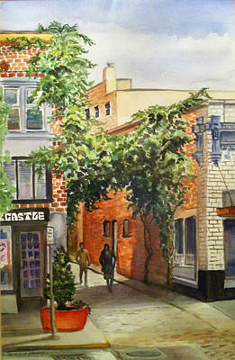 Watercolor Wisteria Painting - Wisteria Over Alleyway by Patricia Young