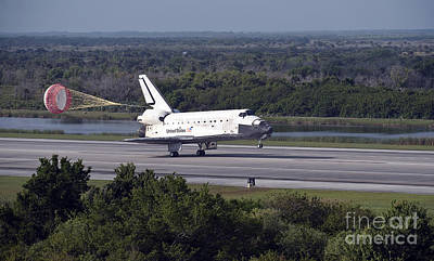 Braking Photograph - With Drag Chute Unfurled, Space Shuttle by Stocktrek Images
