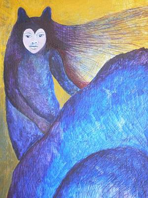 Egg Tempera Painting - Wolf Woman by Catherine Meyers