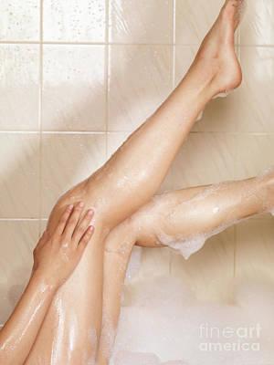 Woman Taking A Bath Print by Oleksiy Maksymenko