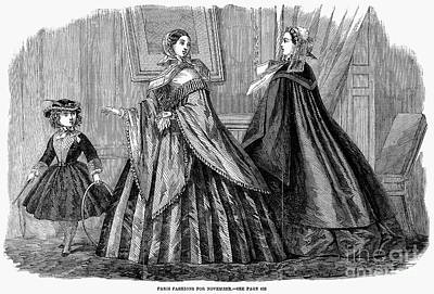 Hoop Skirt Photograph - Womens Fashion, 1859 by Granger