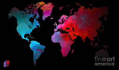 World Map Print by The DigArtisT