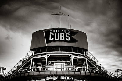 Wrigley Field Bleachers In Black And White Print by Anthony Doudt