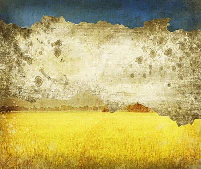 Yellow Field On Old Grunge Paper Print by Setsiri Silapasuwanchai