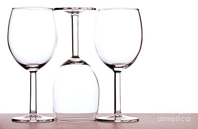 Glass Table Reflection Photograph - Wine Glasses by Blink Images