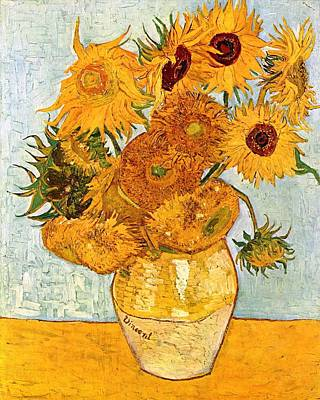 Old Vase Painting - 12 Sunflowers In A Vase by Sumit Mehndiratta