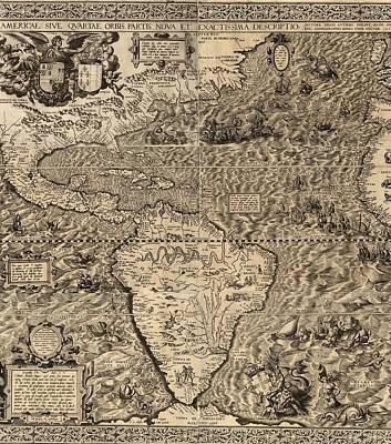 Guti Photograph - 1562 Map Of North And South America by Everett