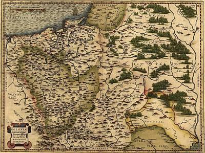 1570 Map Of  Poland. Polands Political Print by Everett