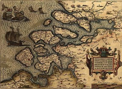 Zeeland Photograph - 1570 Map Of Zeeland Southern by Everett