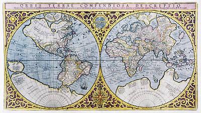 16th Century World Map Print by Georgette Douwma