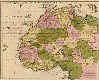 1707 French Map Of Northwest Africa Print by Everett