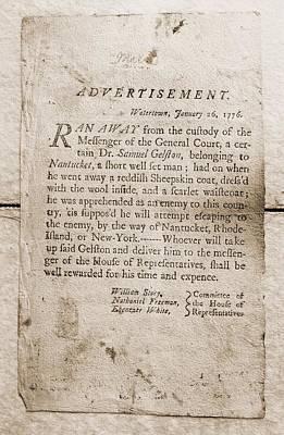 1776 Advertisement For The Return Print by Everett