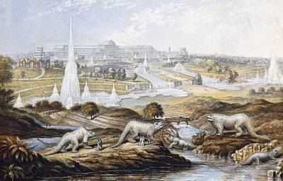 Fossil Reconstruction Photograph - 1854 Crystal Palace Dinosaurs By Baxter 1 by Paul D Stewart