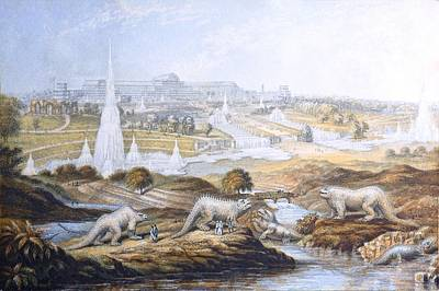 Fossil Reconstruction Photograph - 1854 Crystal Palace Dinosaurs By Baxter 2 by Paul D Stewart