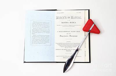 1899 Mercks Manual And Medical Equipment Print by Photo Researchers, Inc.
