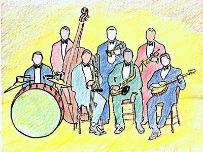 Trombone Drawing - 1920s Jazz Band  by Mel Thompson