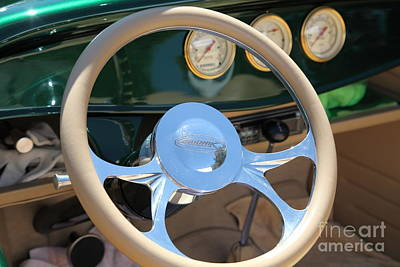 Ford Roadster Photograph - 1932 Ford Roadster Steering Wheel And Guages . 5d16176 by Wingsdomain Art and Photography