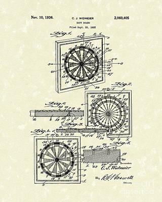 1936 Patent Art Dart Board Print by Prior Art Design