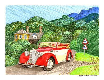 British Classic Cars Painting - 1948 Alvis English Countryside by Jack Pumphrey