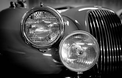 1952 Jaguar Headlights Print by Sebastian Musial