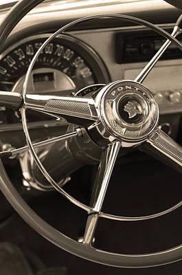 1953 Pontiac Steering Wheel - Sepia Print by Jill Reger