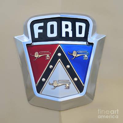 1954 Ford Customline Emblem Close Up Print by Paul Ward