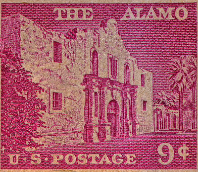 1954 The Alamo Stamp Print by Bill Owen