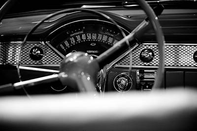 1955 Chevy Bel Air Dashboard In Black And White Print by Sebastian Musial