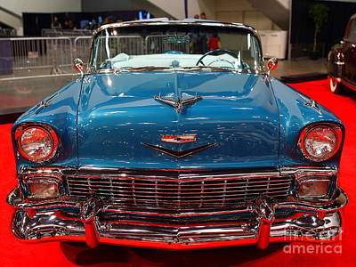 1956 Chevrolet Bel-air Convertible . Blue . 7d9246 Print by Wingsdomain Art and Photography