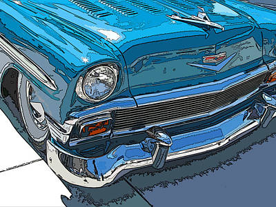 1956 Chevy Bel Air Nose Study Print by Samuel Sheats