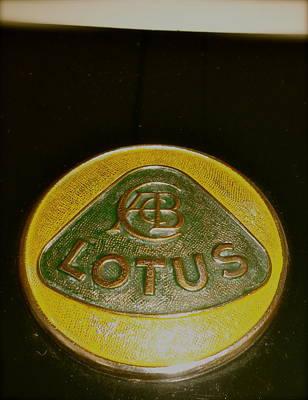 Lotus Racecar Photograph - 1958 Lotus Climax 16 Hood Badge by John Colley